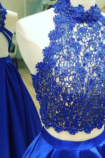 blue two pieces lace long prom dress, blue lace evening dress