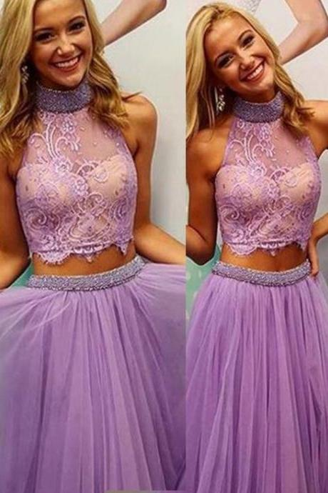 Charming Prom Dress, Two Piece Tulle Prom Dresses, Appliques Prom Dress, Long Evening Dress