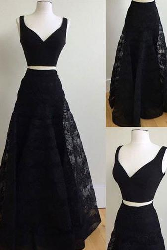 Charming Prom Dress, Sexy Two Piece Prom Dresses, Long Evening Dress, Black Homecoming Dress