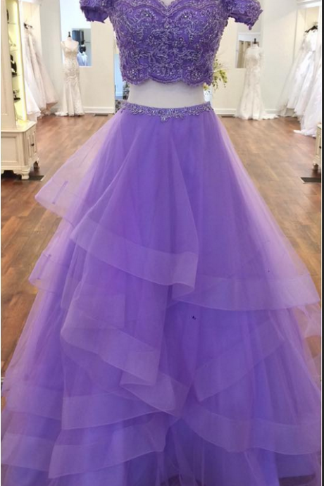 Charming Prom Dress, Sexy Off Shoulder Purple Appliques Tulle Prom Dresses, Two Piece Prom Gown, Long Evening Dress