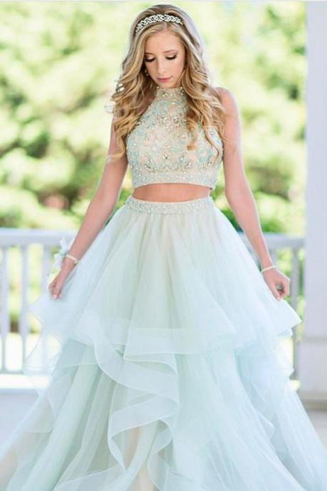 Charming Prom Dress, Sexy Two Piece Tulle Prom Dresses, High Neck Crystal Beaded Homecoming Dress, Long Prom Gowns