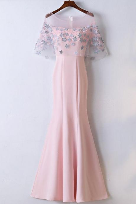 Custom Made Pink Mermaid Prom Dress with Floral Applique