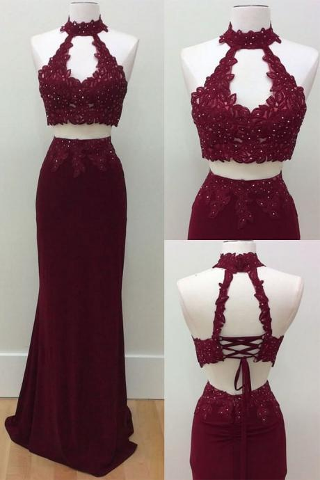 Sexy Two Piece Prom Dress, Sleeveless Beaded Burgundy Prom Dress, Long Prom Dresses, Homecoming Dress