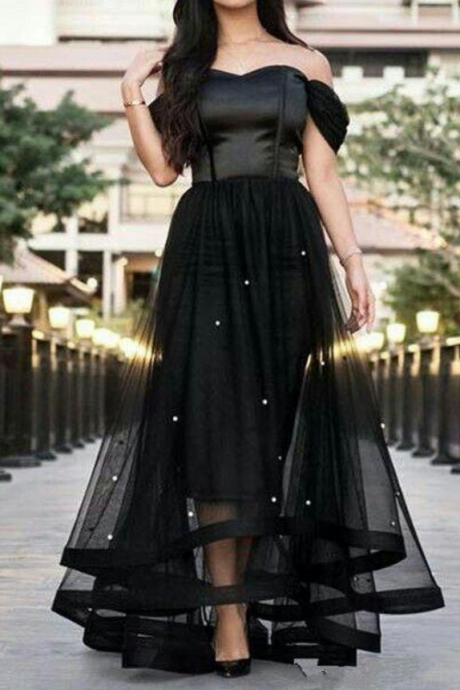 Black Evening Dress, Off Shoulder Prom Dress, Sexy Long Evening Dress