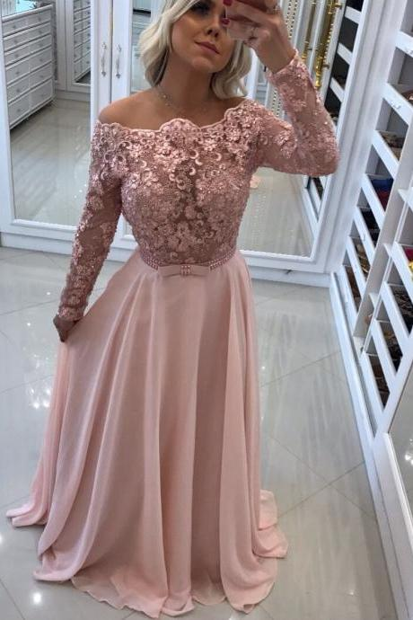 Lace Appliques Long Sleeve Evening Dress ,Chiffon Formal Party Gown Prom Gown